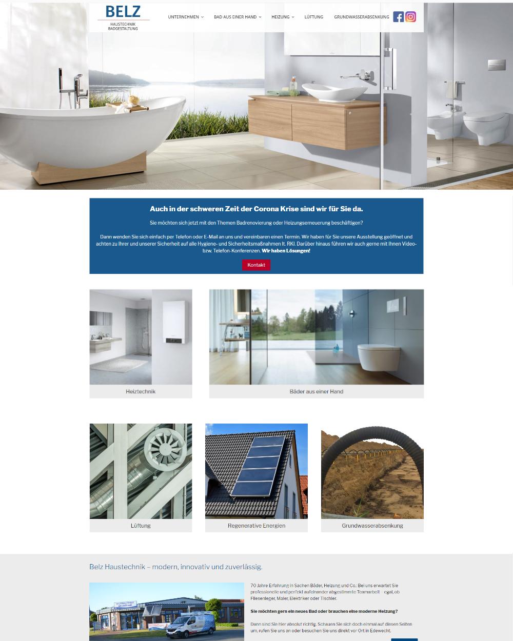 Website von Belz Hautechnik GmbH in Edewecht