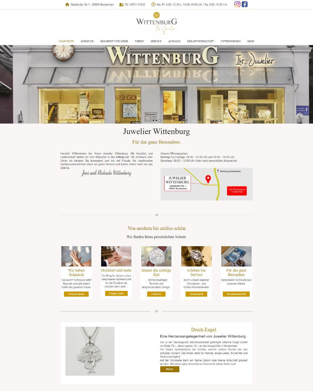 Website von Juwelier Wittenburg in Nordenham
